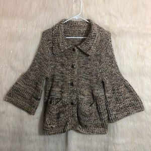 Anthropologie One Girl Who Chunky Knit  Cardigan